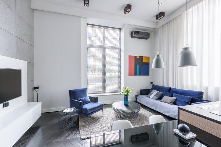 pareti grigie soggiorno